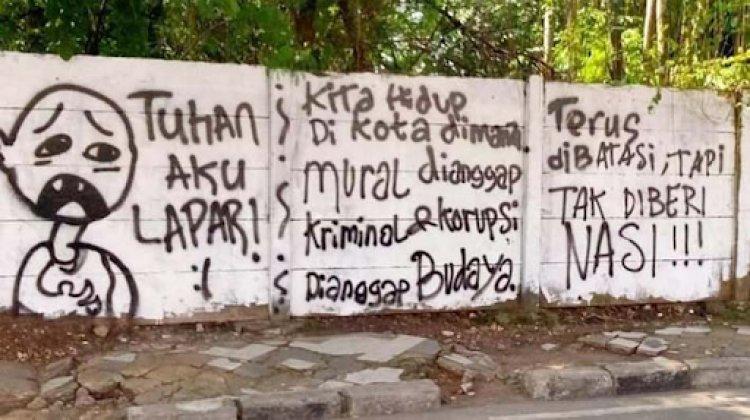 """Viral ! Mural Kritik """"Tuhan Aku Lapar"""" di Depok Tuai Kontroversi,"""